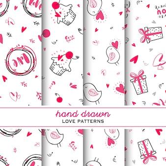 Set van de liefde uitdrukkingen naadloze achtergrond. belettering, hart, cupcake, cadeau, vogel