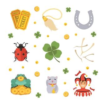 Set van de lucky charms-pictogrammen