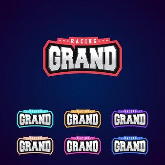 Set van de macht full-grand racing typografie logo embleemontwerp voor t-shirt