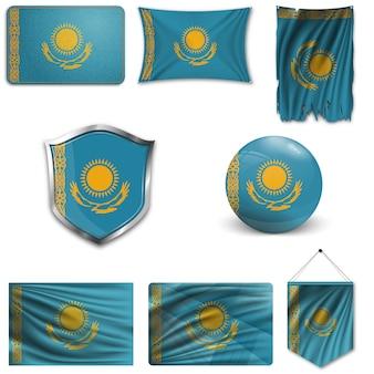 Set van de nationale vlag van kazachstan