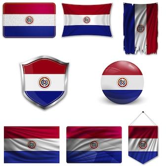 Set van de nationale vlag van paraguay