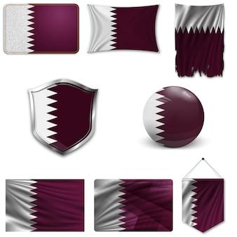 Set van de nationale vlag van qatar