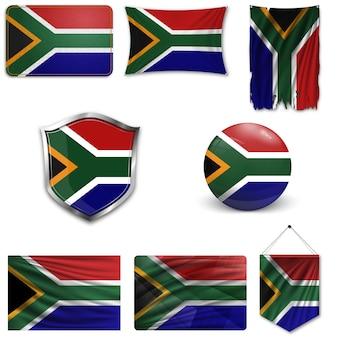 Set van de nationale vlag van zuid-afrika