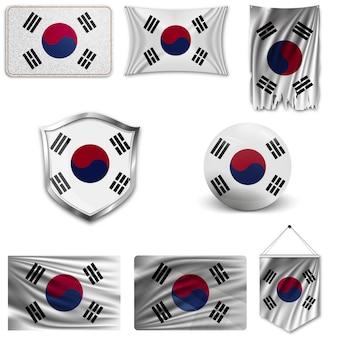Set van de nationale vlag van zuid-korea