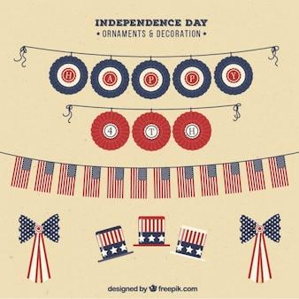 Set van de onafhankelijkheid dag decoratie