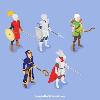Set van de rol van spelkarakters