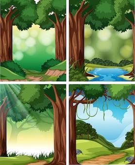 Set van de scène van de natuur