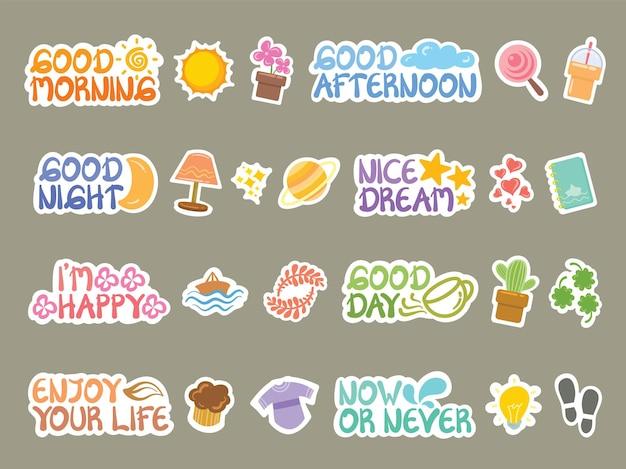 Set van de schattige platte dagelijkse sticker dagboek illustratie