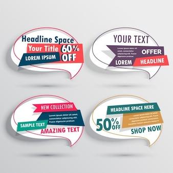 Set van de verkoop banners in abstracte praatjebel stijl
