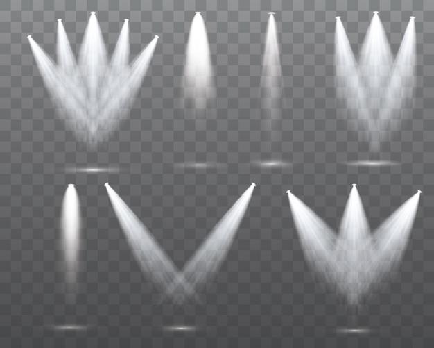 Set van de witte schijnwerpers schijnt op het podium, scène, podium. exclusief gebruik lensflitslichteffect van een lamp of spot.