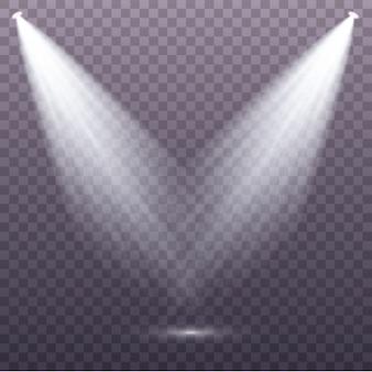 Set van de witte spotlight schijnt op het podium, scène, podium. exclusief lensflitslichteffect van een lamp of schijnwerper.