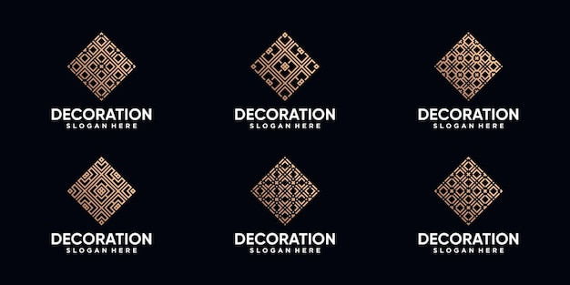 Set van decoratie-logo-ontwerp met lijntekeningen en gouden stijlkleur