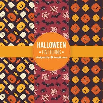 Set van decoratieve halloween patronen