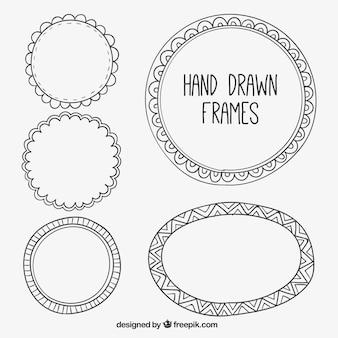 Set van decoratieve hand getekende frames
