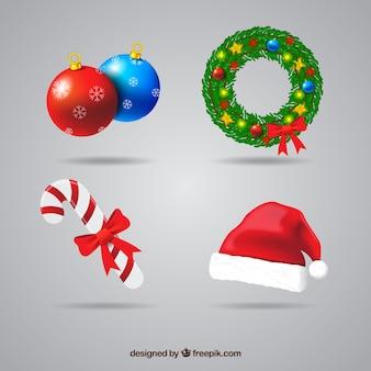 Set van decoratieve kerst elementen