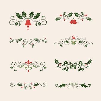 Set van decoratieve kerst ontwerpen voor kaarten vector