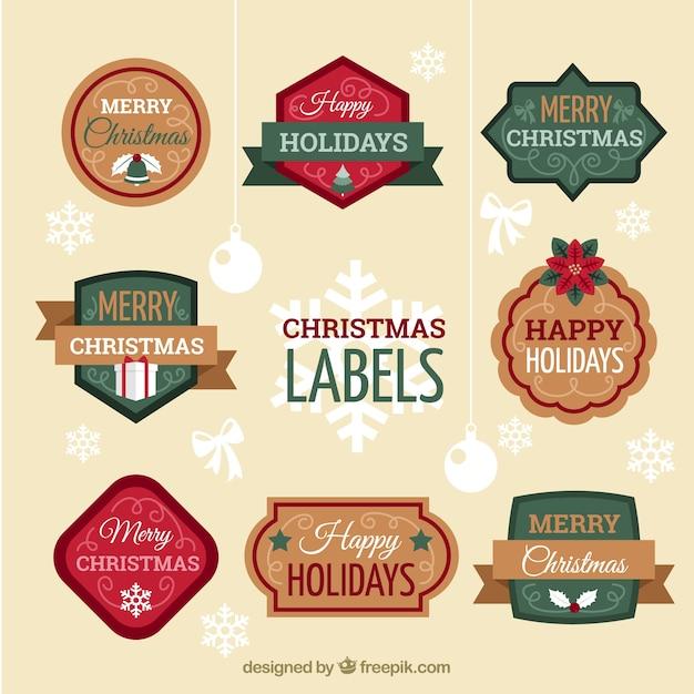 Set van decoratieve kerst stickers in retro stijl