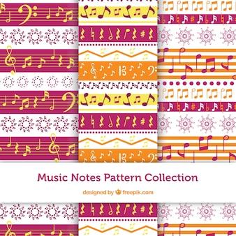 Set van decoratieve patronen met muzieknoten