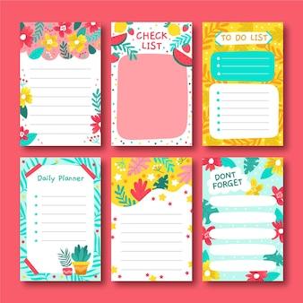 Set van decoratieve plakboeknotities en kaarten