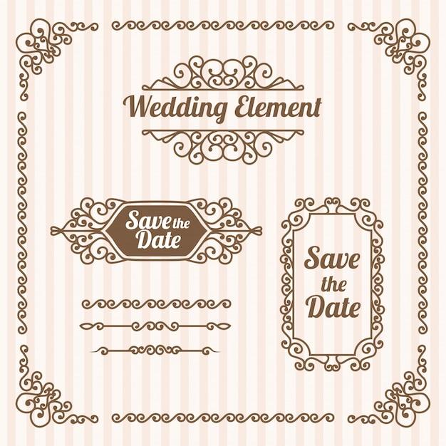 Set van decoratieve vintage bruiloft set