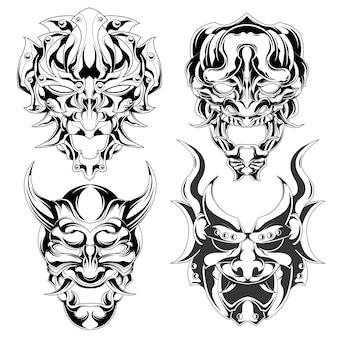 Set van demonenmasker