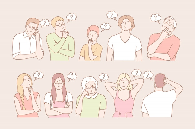 Set van denkende mensen concept