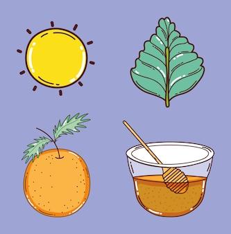 Set van detox recept ingrediënten pictogrammen
