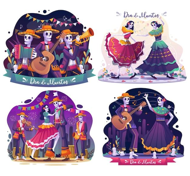 Set van dia de muertos met paar schedels danser en skeletten muzikanten spelen muziek illustratie