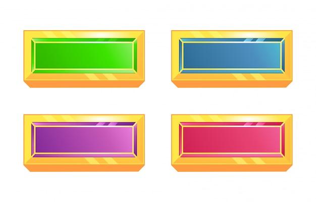 Set van diamanten knop in verschillende kleuren met gouden frame voor game ui-elementen