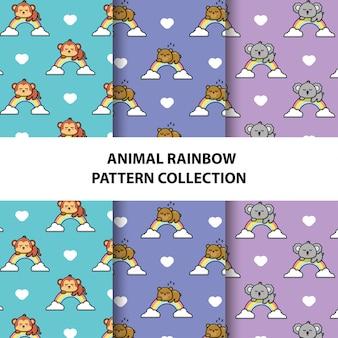 Set van dieren naadloze patronen collectie