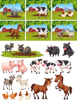 Set van dieren op de boerderij
