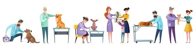 Set van dierenarts artsen tijdens huisdieren onderzoek en eigenaren van huisdieren geïsoleerd plat