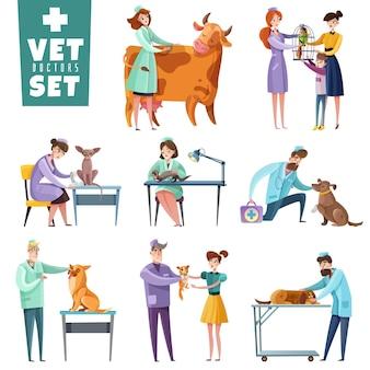 Set van dierenarts artsen tijdens professioneel onderzoek van huisdieren en landbouwhuisdieren geïsoleerd