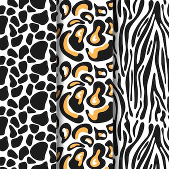 Set van dierenprint naadloze patroon sjabloon