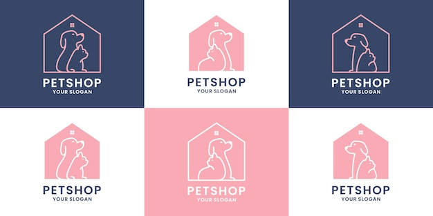 Set van dierenwinkel huis logo ontwerp. met hond en kat combinatie