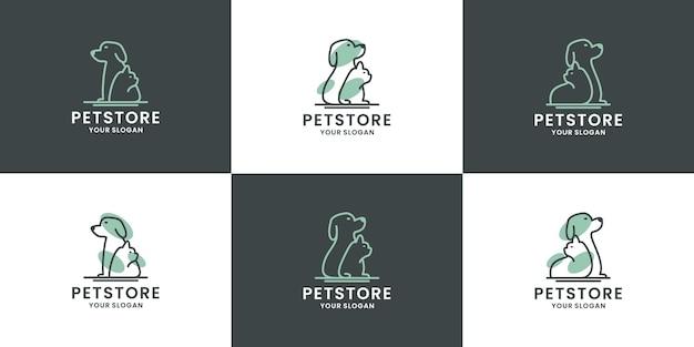 Set van dierenwinkel logo ontwerp collectie
