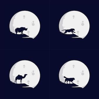 Set van dierlijk logo in de maan