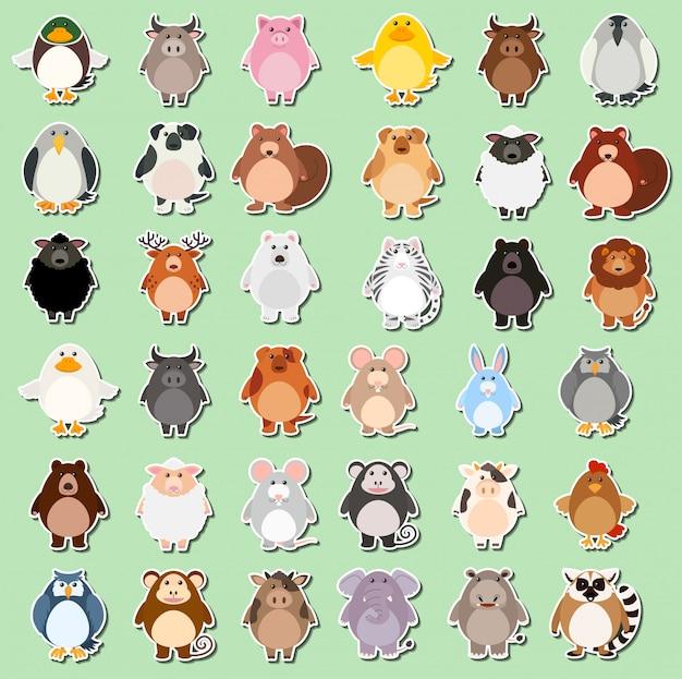 Set van dierlijke cartoon sticker