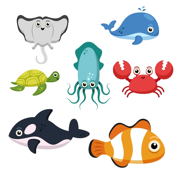 Set van dierlijke groep van zeedieren, vissen, pijlstaartrog, walvis, inktvis, schildpad, krab, haai, anemoonvis op wit