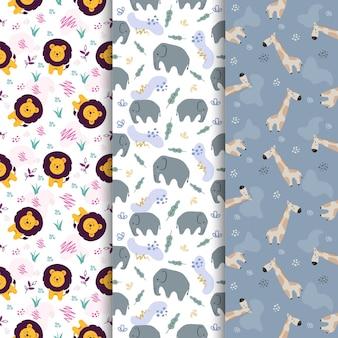 Set van dierlijke leeuw olifant giraffe cute cartoon naadloze patroon
