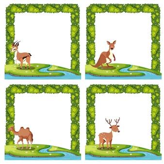 Set van dierlijke natuur grens