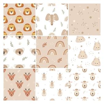 Set van dierlijke patronen in boho-stijl.