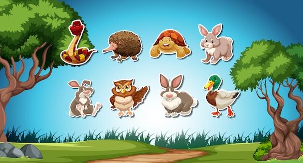 Set van dierlijke stickers