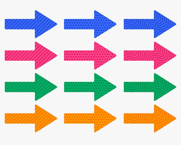 Set van dikke pijlen in verschillende kleuren en patronen