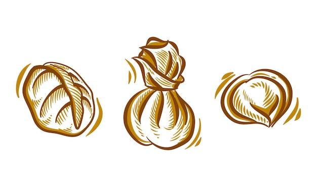 Set van dim sum hand tekening illustratie doodle voor branding logo achtergrondelement