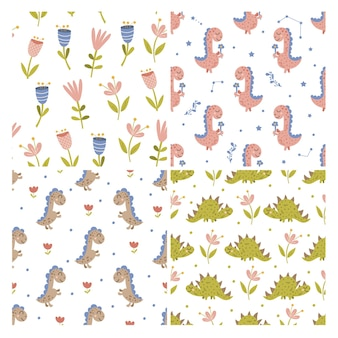 Set van dinosaurus en bloemenpatronen. vector illustratie.
