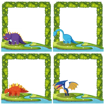 Set van dinosaurus op frames