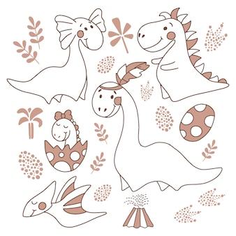 Set van dinosaurussen, vectorillustratie
