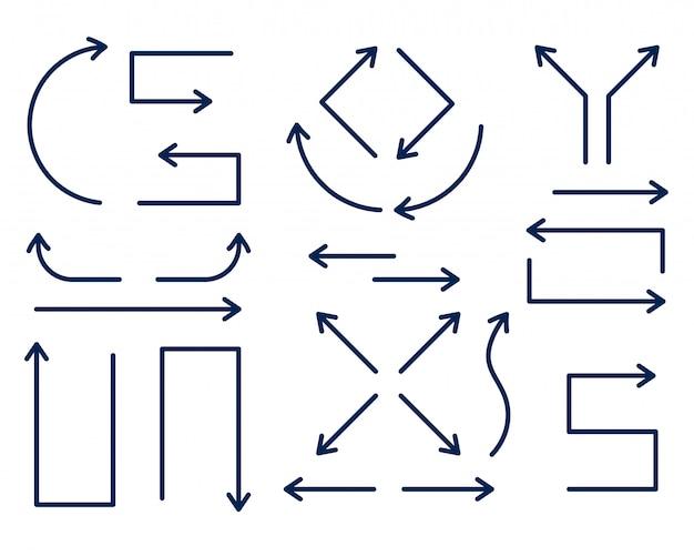 Set van directionele pijlen in dunne lijnstijl