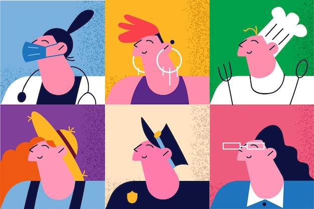 Set van diverse beroepen van verschillende vrouwelijke werknemers